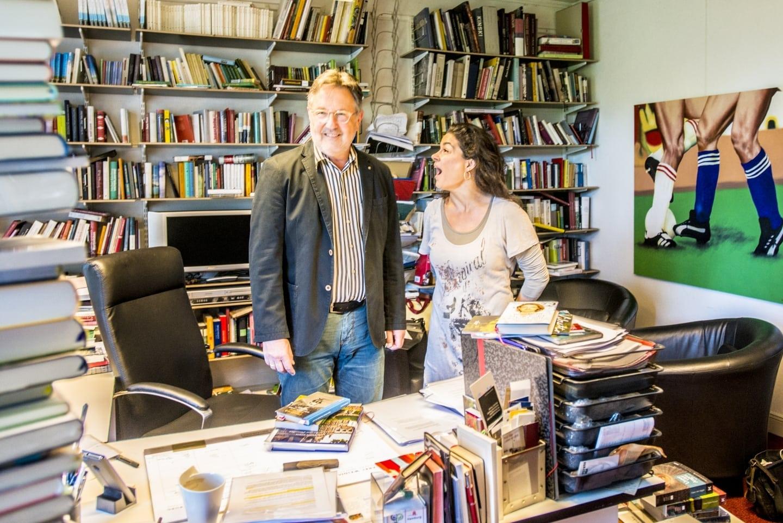 Prof. Dr. Rainer Moritz und Caroline Kiesewetter in der Büchserstube des Literaturhauses im 4Stock