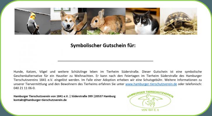 Tierheim Süderstraße: symbolischer Gutschein